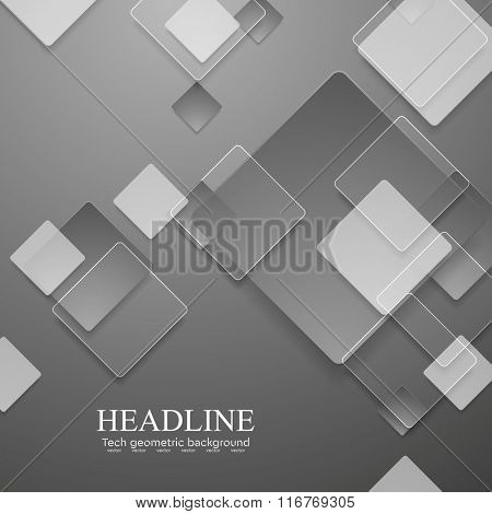 Grey geometric tech background with glass squares. Vector graphic design