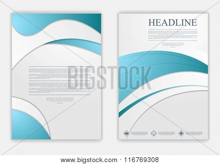 Abstract blue grey wavy corporate flyer design. Vector background