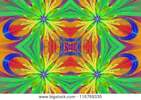 Multicolored Symmetrical Pattern In Stained-glass Window Style On Light. Artwork For Design