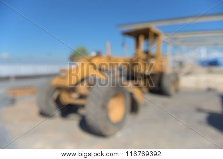 Heavy Grader On Construction Field, Blur Scene.