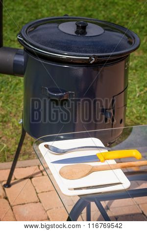 Kettle For Cooking Goulash With Chimney