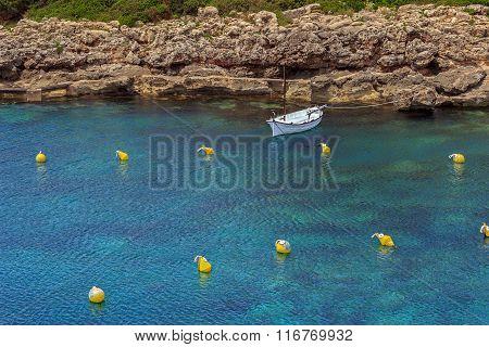 Lonely mediterranean llaut boat