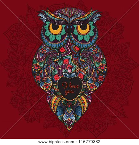 Vector illustration of ornamental owl. Bird illustrated in tribal. Boho owl with love. Heart for Val