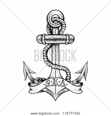 Hand drawn elegant ship sea anchor with rope and banner, black s