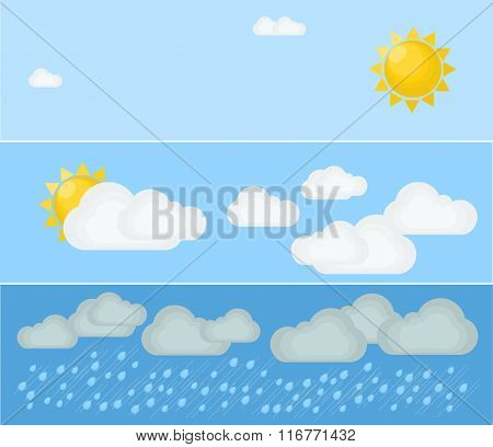 Different types of weather. Day and summer. Flat vector illustration. Symbols and icons of weather t