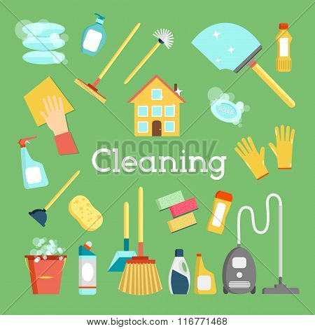 Household supplies and house cleaning flat icons collection. Minimal vector graphics set. Flat desig