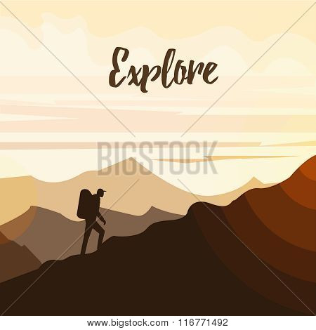 Man hiker on a top of a mountain. Minimal flat vector graphics for web site, advertisement, printed