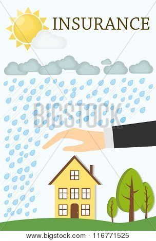 Insurance concept. Minimal flat vector illustration. House with trees, storm, rain and the Sun.