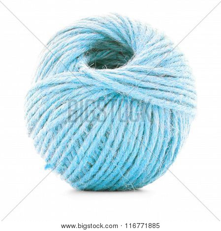 Blue Traditional Clew, Knitting Yarn Ball Isolated On White Background