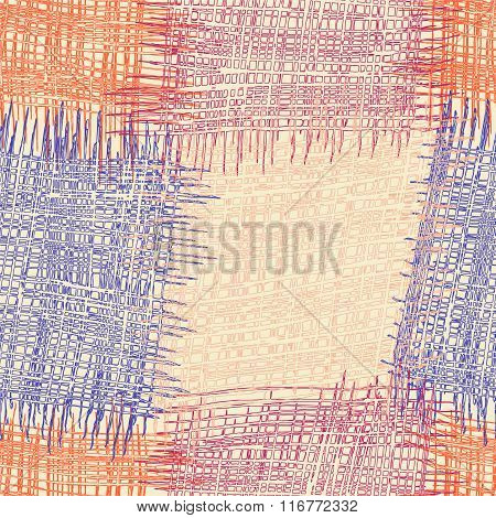 Colorful grunge striped and checkered quilt seamless pattern