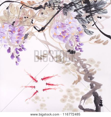 Chinese watercolor painting of wisteria and golden fish