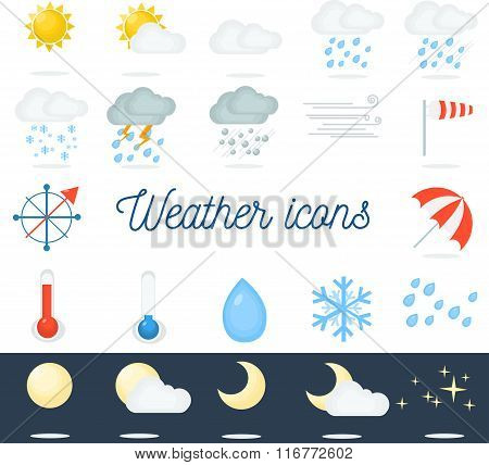 Beautiful flat weather icons set. 22 vector icons for different types of weather