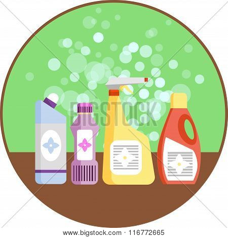 Set of household supplies. Group of detergents on the shelf. Minimal flat vector graphics. Icon for