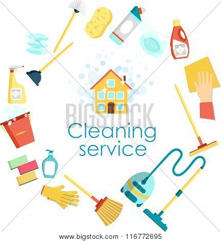 Concept of cleaning service. Flat vector set of cleaning tools and household supplies. Minimal vecto