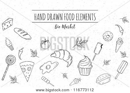 Templates for design with hand drawn linear foods. Design for vegan products, brochures, banner, res