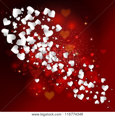 Valentine's day abstract background with red and white hearts with festive light