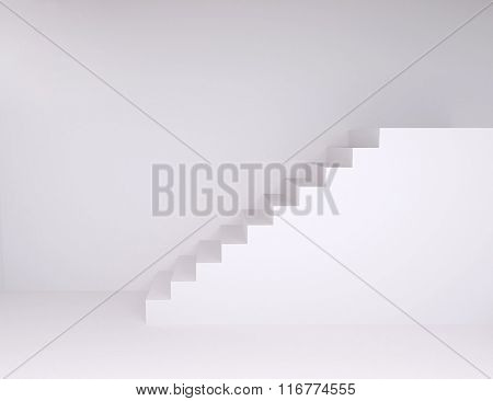 Empty Room With Ascending Stairs, With Floor And Wall
