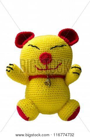 Handmade Crochet Yellow Cat Doll On White Background