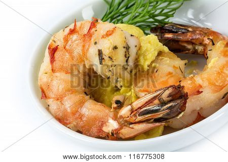 Roasted Black Tiger Shrimps With Garlic Cream And Dill Garnish, Appetizer For A Festive Dinner, Clos