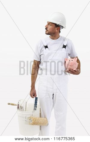 Painter Man With Piggy Bank, Isolated On White, Saving Concept