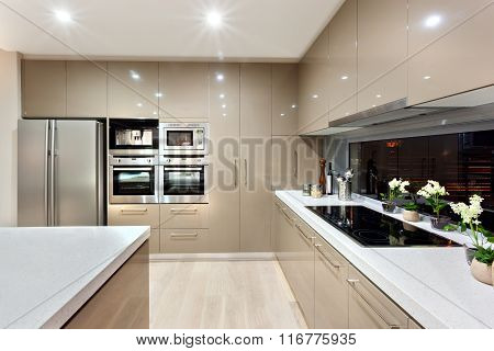 Interior Of The Modern Kitchen In A Luxury House
