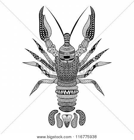 Zentangle stylized Black Crawfish. Hand Drawn Crayfish vector il