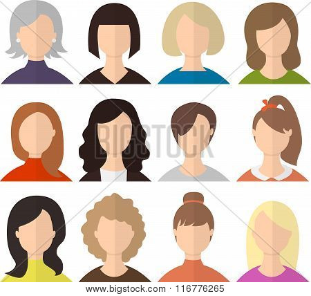 Set of vector woman avatars or icons. Minimal flat illustration. Characters collection