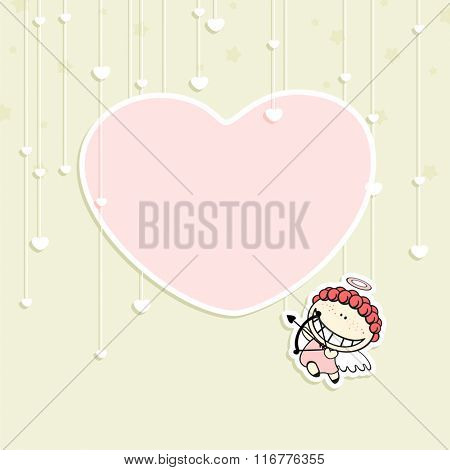 Romantic Valentine's Day card with a cute cupid and space for your text or photo