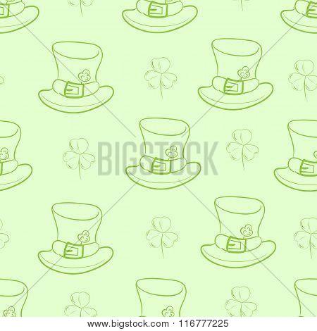 Seamless contours of hats and shamrocks