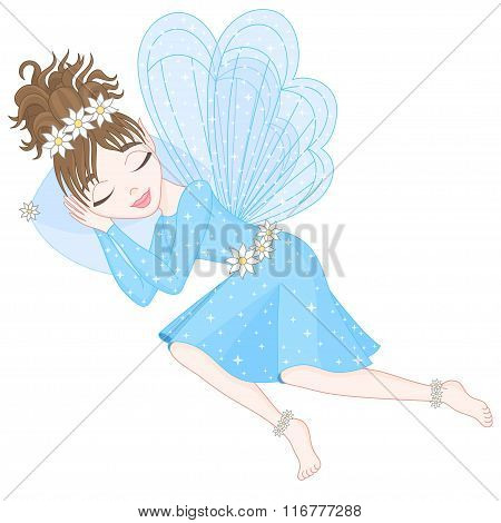 Cute fairy in blue dress with transparent wings is sleeping
