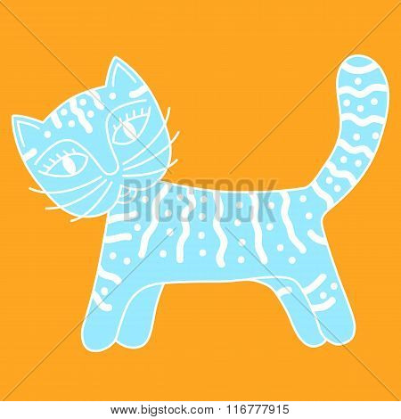 blue cat with white ornament