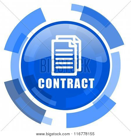 contract blue glossy circle modern web icon