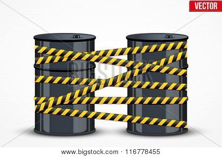 Oil barrels with danger line