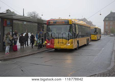 The bus stop at the railway station. Copenhagen, Denmark