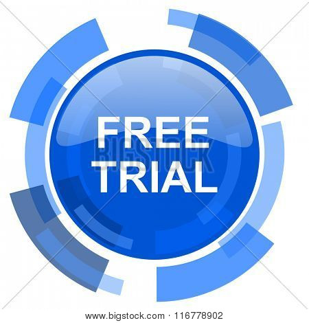 free trial blue glossy circle modern web icon