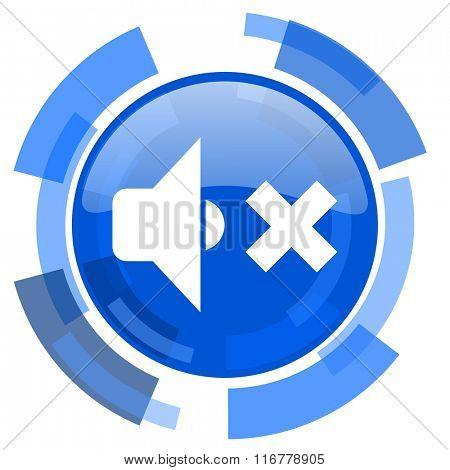 speaker volume blue glossy circle modern web icon