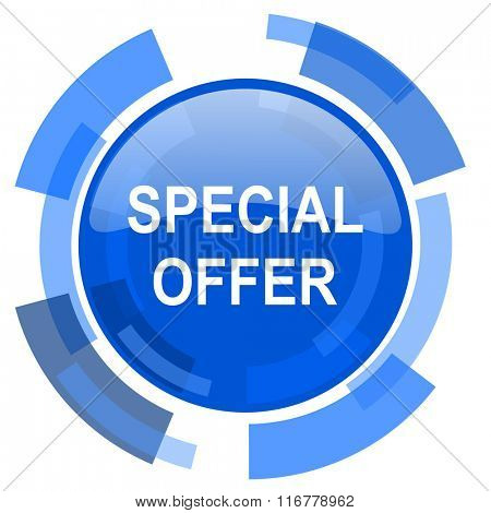 special offer blue glossy circle modern web icon
