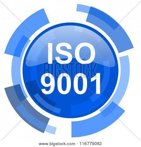 iso 9001 blue glossy circle modern web icon