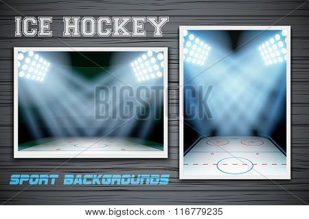 Set Backgrounds of ice hockey arena