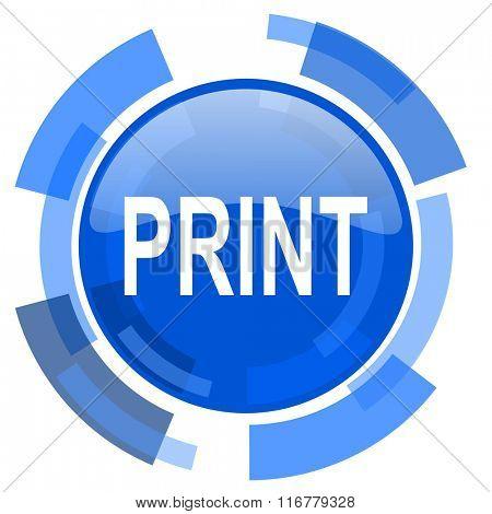 print blue glossy circle modern web icon