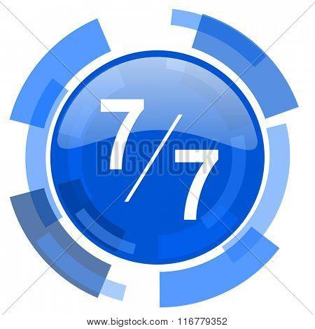 7 per 7 blue glossy circle modern web icon