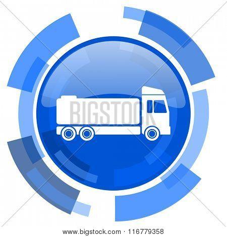 truck blue glossy circle modern web icon