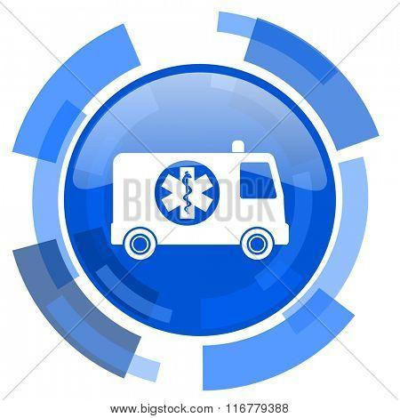ambulance blue glossy circle modern web icon