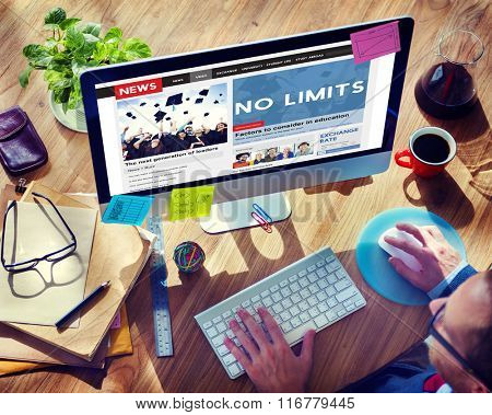 No Limits Positive Thinking Freedom Success Concept