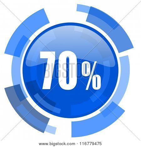 70 percent blue glossy circle modern web icon