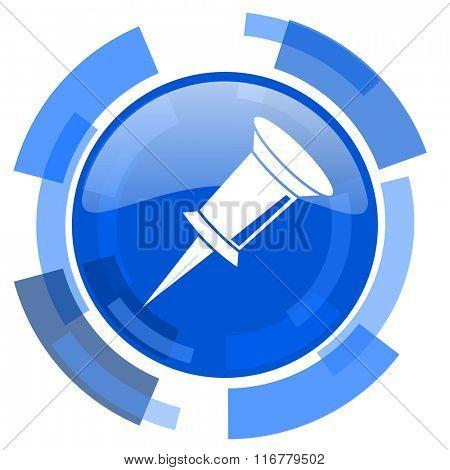 pin blue glossy circle modern web icon