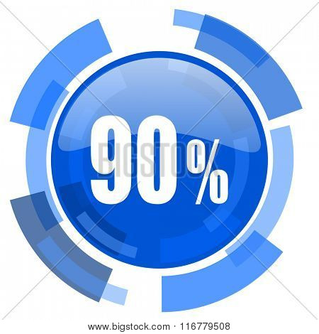 90 percent blue glossy circle modern web icon