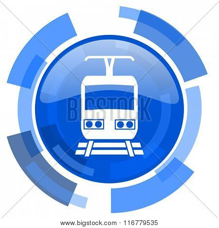 train blue glossy circle modern web icon