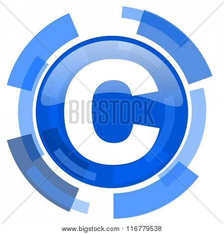copyright blue glossy circle modern web icon