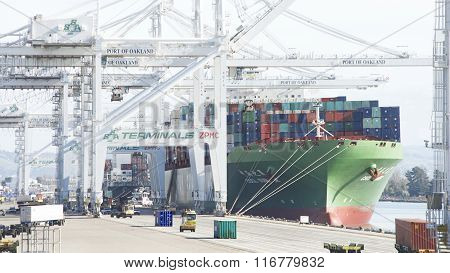 Cargo Ship Cscl Summer Loading At The Port Of Oakland.